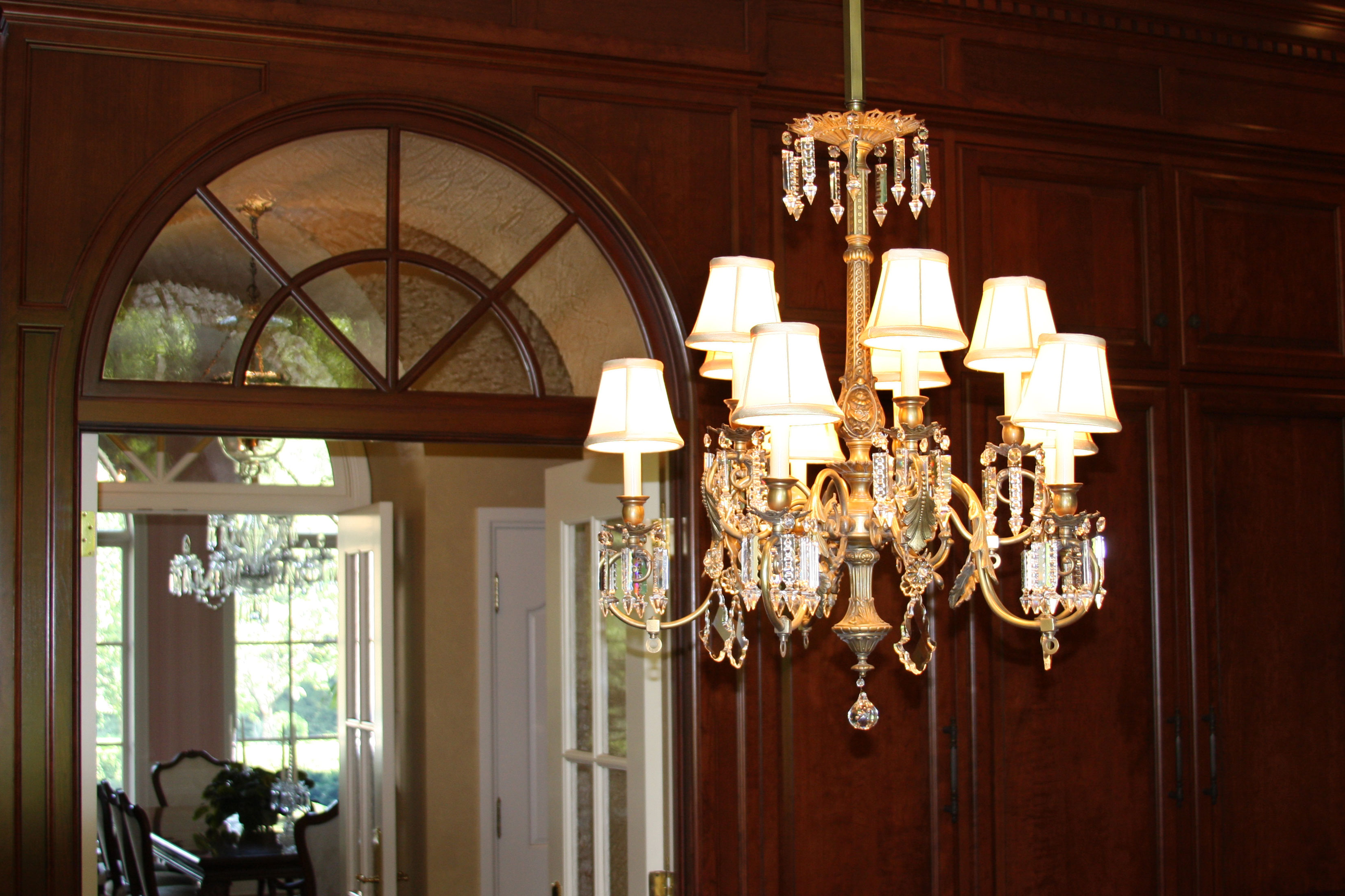 Antique lighting brass light gallerys blog a beautiful chandelier with white silk shades arubaitofo Image collections