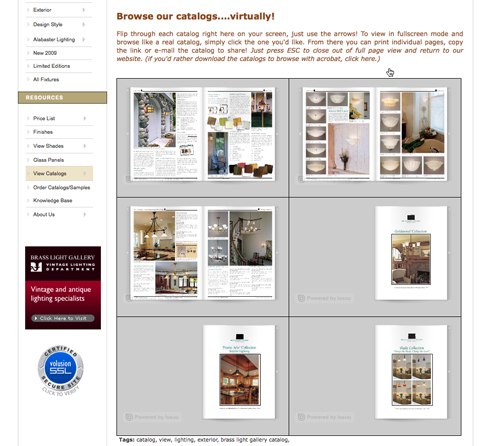 Screenshot of catalogs on website